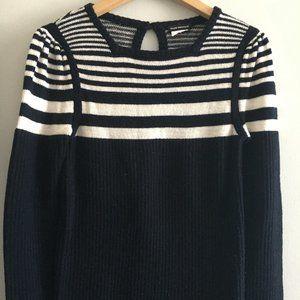 Club Monaco stripe sweater 100% merino wool